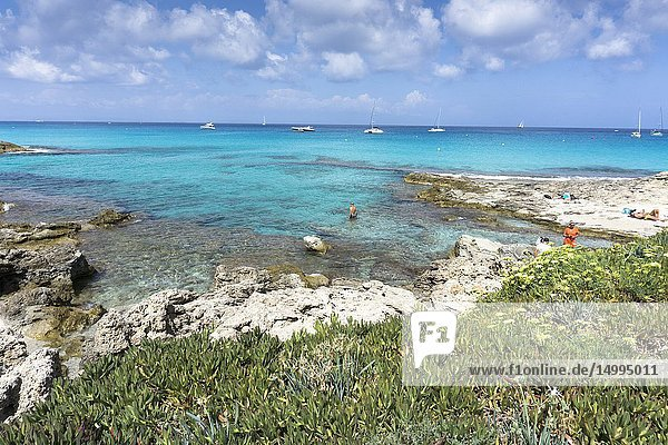 Turquoise Mediterranean sea Formentera island Spain.