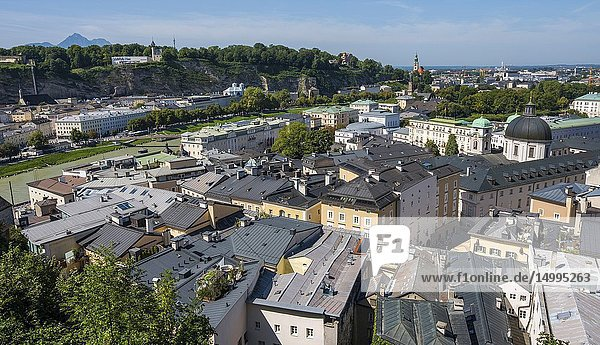 View across the rooftops of Salzburg  Austria  Europe.