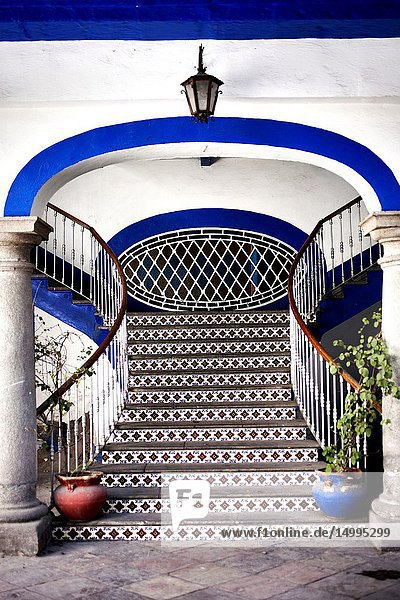 Colored ceramic tiles decorate a Colonial House in Puebla  Mexico.