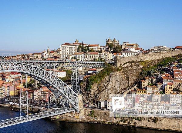 Dom Luis I Bridge  elevated view  Porto  Portugal.