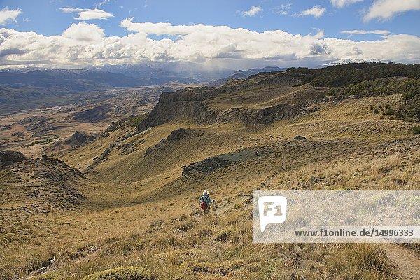 Trekking in beautiful Patagonia National Park  Aysen  Patagonia  Chile.
