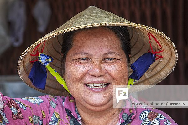 Portrait of a Vietnamese woman who was working at the street market in Dinh Cau  phu Quoc Island  Vietnam  Asia.