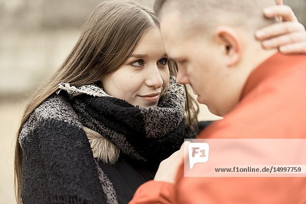 Couple looking at each other  outdoors in Cottbus  Brandenburg  Germany