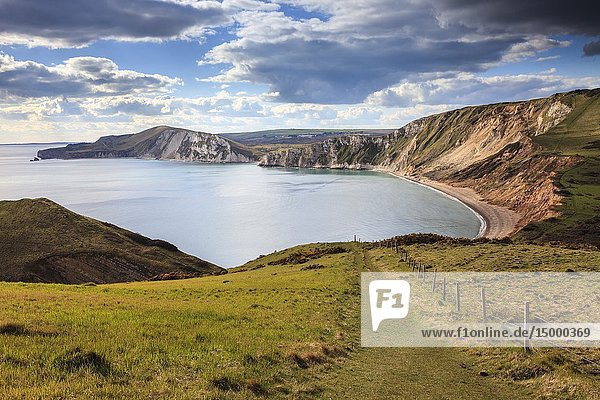 Worbarrow Bay on Dorset's Jurassic Coast  captured from the South West Coast Path on an afternoon in April.