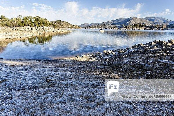 Drought at Burguillo reservoir in Iruelas Valley. Sierra de Gredos. Avila. Spain. Europe.