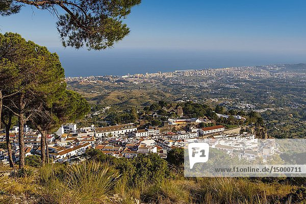 Panoramic view  white village of Mijas. Malaga province Costa del Sol. Andalusia  Southern Spain Europe.