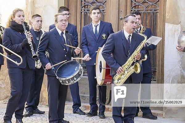 REQUENA VALENCIA SPAIN : Musicians at Mayordomia of San Anton festival.