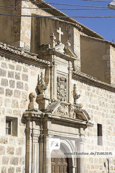 Cityscape in Requena Valencia Spain Carmen church.