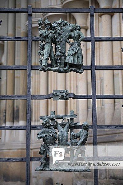 Decorative bronze figures on gate  St Vitus Cathedral  Prague Castle  Prague  Czech Republic.