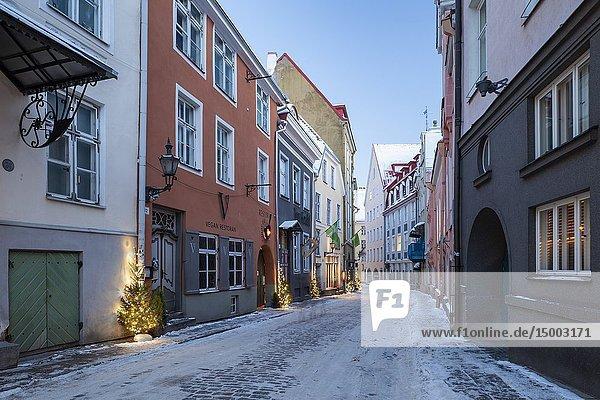 Winter dawn in Tallinn old town  Estonia.
