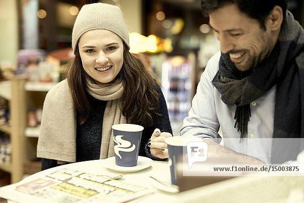 Couple  coffee shop  in Munich  Germany.