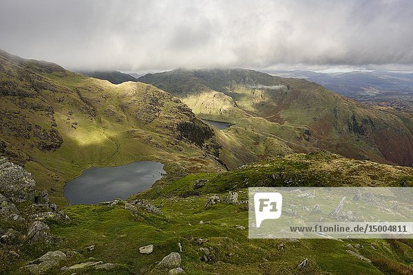 Low Water on the flank of The Old Man of Coniston in the Lake District National Park  Cumbria  England.