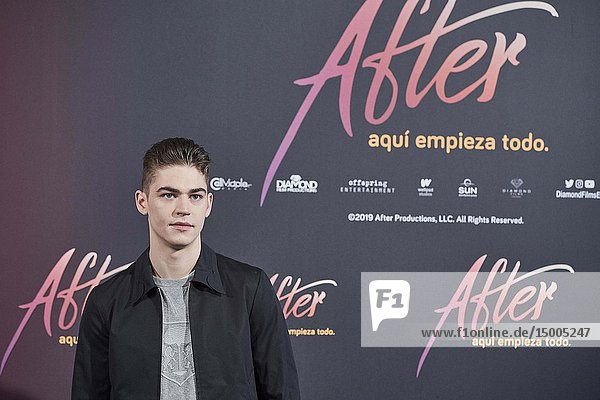 English actor Hero Fiennes Tiffin attends the Pedro Del Hierro fashion show at VP Plaza Espana Hotel on March 26  2019 in Madrid  Spain