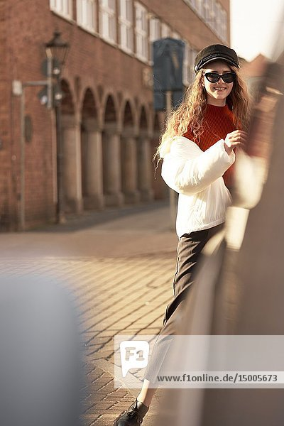 Young woman  happy  in city Cottbus  Brandenburg  Germany.