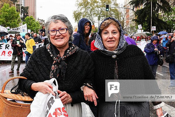 Ladies participating in the rally. 'La Revuelta de la España Vaciada' from the Plaza de Colón in Madrid to Neptuno with a massive participation that makes this march historic  since it is the first time that 90 collectives from 23 provinces come together to stop depopulation