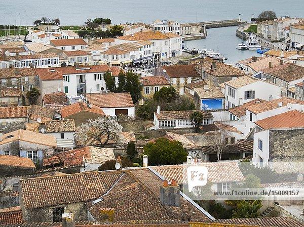 View from roof of Saint Martin Church  Saint-Martin-de-Re  Ile-de-Re  Charente-Maritime Department  Nouvelle Aquitaine  France.