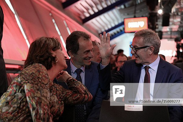 The Ministers Teresa Ribera (L)  Pedro Duque andJ osé Guirao(R) seen attending the event to presents the electoral campaign of the Socialists.