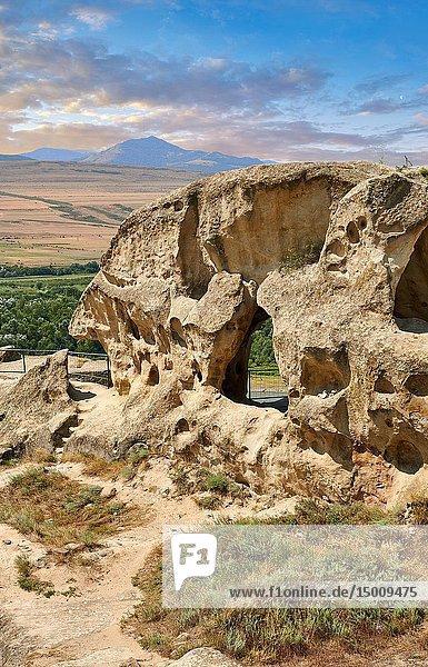 Picture & image of rock caves of Uplistsikhe (Lords Fortress) troglodyte cave city  near Gori  Shida Kartli  Georgia. UNESCO World Heritage Tentative List.