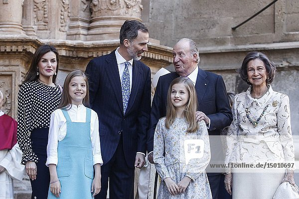 Queen Letizia  Queen Sofia  King Felipe  King Juan Carlos  Princess Sofia and Princess Letizia attend the eastern mass at the Palma de Mallorca cathedral in Palma de Mallorca  Spain on the 1st of April of 2018.01/04/2018.