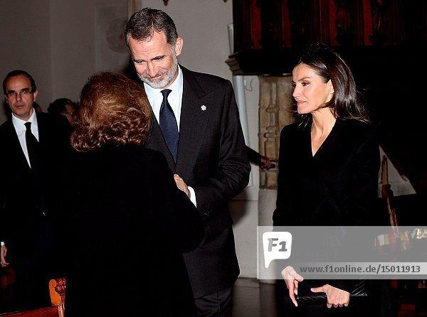 King Felipe VI of Spain  Queen Letizia of Spain attends Funeral in memory of Jose Pedro Perez-Llorca at San Jeronimo el Real Church on April 4  2019 in Madrid  Spain.Pool