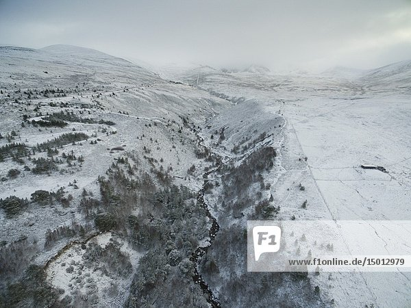 AVIEMORE  SCOTLAND  UK - 17 Jan 2019 - Aerial snowy landscape showing the snowy mountains of the Cairngorms near Aviemore Scotland UK - Picture by Atlas Photo Archive/Jonathan Mitchell.