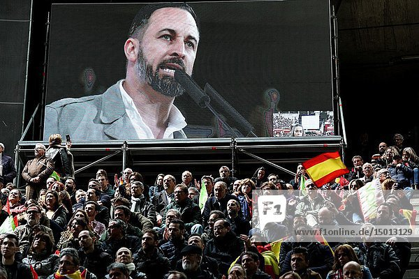 Santiago Abascal seen speaking to he participants for the general elections on April 28  at a large public event in Leganés  which will be attended by its leader  Santiago Abascal  the president of Vox Madrid  Rocío Monasterio  and the founder of the José Antonio Ortega Lara formation.