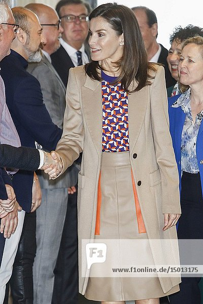 Queen Letizia of Spain visits the School of Engraving and Graphic Design and delivery the awards of Graduation to the 7th promotion of the 'Master in Engraving and Graphic Design' and the 'Prize Tomas Francisco Prieto'  that recognizes the professional and human trajectory of Jose Manuel Broto at Real Casa de la Moneda on April 8  2019 in Madrid  Spain.08/04/2019.