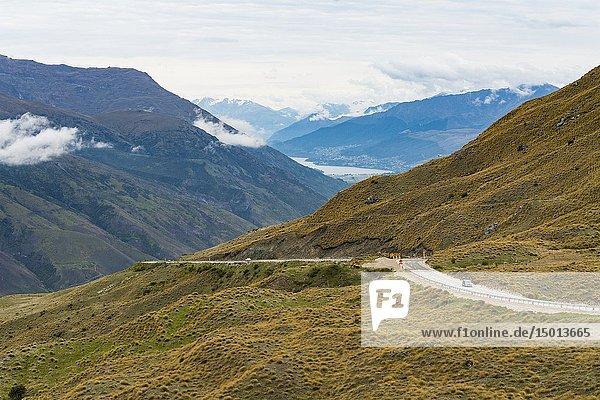 HIghway between Cardrona and Queenstown  South Island  New Zealand.