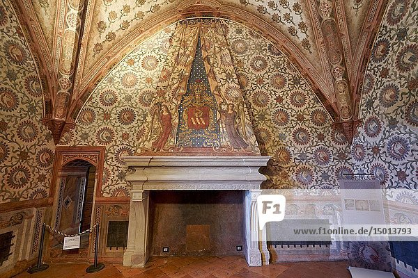 Vignola  Modena  Emilia Romagna  Italy. The Castle (Rocca)  built in the Carolingian era but known from 1178  it was turned into a patrician residence by the Contrari family in the Renaissance era. It houses a chapel with late-Gothic frescoes (early 15th century)  and a hall (Sala del Padiglione) with frescoes from the same age. Sala delle Colombe.