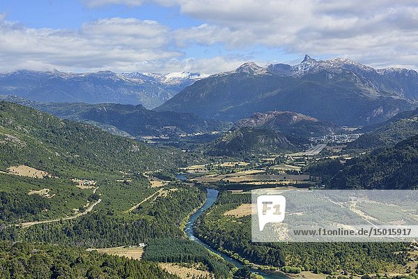 View of the majestic Futaleufú River with Cerro Teta peak behind  Futaleufú Reserve  Patagonia  Chile.