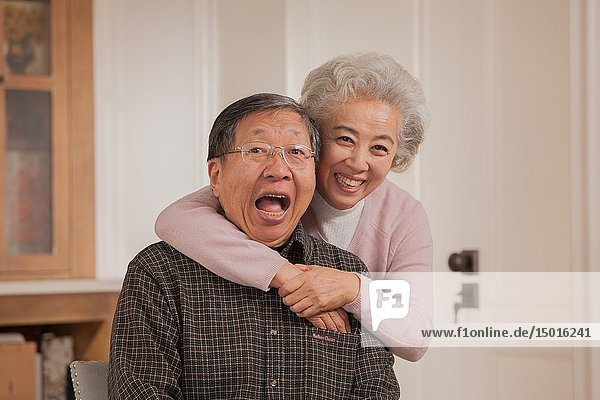 Portrait of loving old couple  Chinese ethnicity