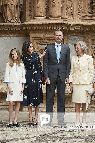 King Felipe VI of Spain  Queen Letizia of Spain  Crown Princess Leonor  Queen Sofia of Spain arrive for the Easter Mass at Cathedral of Palma de Mallorca on April 21  2019 in Palma  Spain