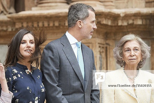 Queen Letizia of Spain  Queen Sofia of Spain  King Felipe VI of Spain leave Cathedral of Palma de Mallorca after the Easter Mass on April 21  2019 in Palma  Spain