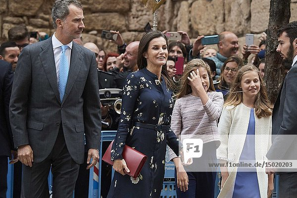 King Felipe VI of Spain  Queen Letizia of Spain  Crown Princess Leonor  Princess Sofia leave Cathedral of Palma de Mallorca after the Easter Mass on April 21  2019 in Palma  Spain