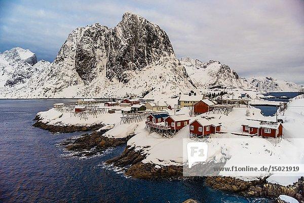 The fishing village of Hamnoy  near Reine  on Moskenesoya Island  Lofoten Islands  Arctic  Northern Norway.