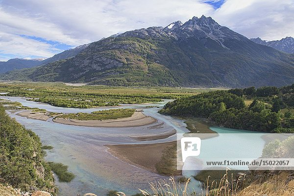 Looking out at the Rio Ibanez confluence  Aysen  Patagonia  Chile.