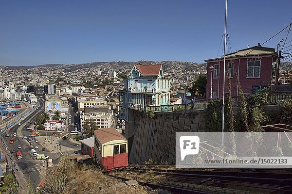 The historic Ascensor Artilleria funicular in UNESCO World Heritage Valparaiso  Chile.