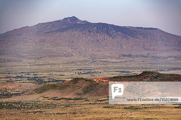 Mount Longonot looms over the Great Rift Valley overlook  Kenya.