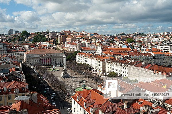 Lisbon  Portugal  Europe - An elevated view of the Rossio square or Praca Dom Pedro IV with the Teatro Nacional D. Maria II in the backdrop.