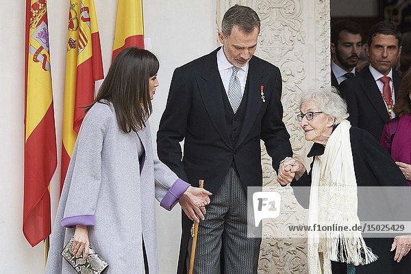 King Felipe VI of Spain  Queen Letizia of Spain  Ida Vitale attends 'Cervantes Award' to Ida Vitale at Alcala de Henares University on April 23  2019 in Alcala de Henares  Spain