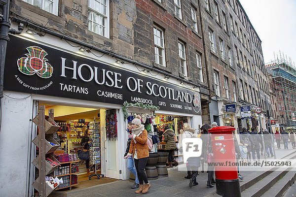 House of Scotland tartans and cashmere store on the Royal Mile in Edinburgh.
