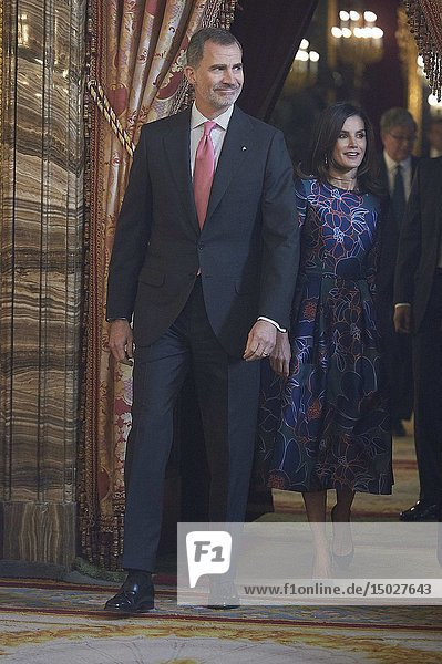 King Felipe VI of Spain  Queen Letizia of Spain attend an official lunch for 'Miguel de Cervantes 2019' award at Royal Palace on April 24  2019 in Madrid  Spain