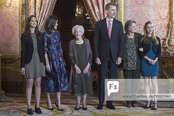 King Felipe VI of Spain  Queen Letizia of Spain  Ida Vitale attend an official lunch for 'Miguel de Cervantes 2019' award at Royal Palace on April 24  2019 in Madrid  Spain
