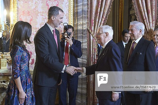 King Felipe VI of Spain  Queen Letizia of Spain  Mario Vargas Llosa attend an official lunch for 'Miguel de Cervantes 2019' award at Royal Palace on April 24  2019 in Madrid  Spain