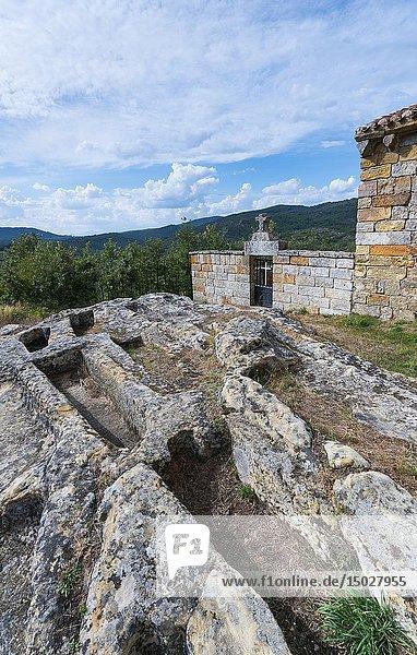 Necropolis  Iglesia de Santa Leocadia  Castrillo de Valdelomar  Valderredible Municipality  Cantabria  Spain  Europe.