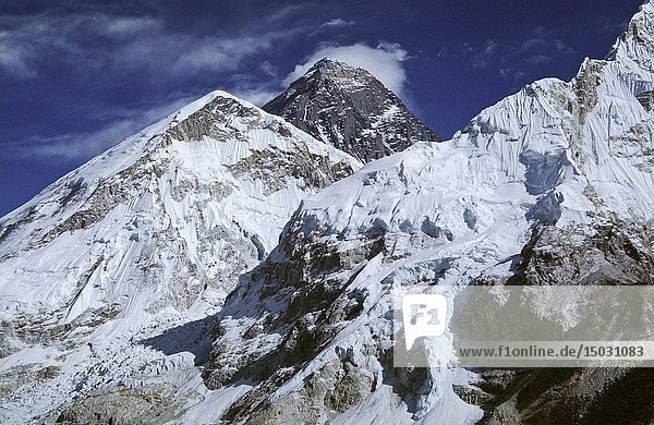 File image dated Dec 2005 of the summit of Mount Everest (centre) in Nepal. The 29th May is the anniversary of the first ascent of the mountain by a British expedition led by Col John Hunt. Climbers Tenzing Norgay and Edmund Hillary reached the summit on the 29th May 1953. News of their achievement arrived on the day Queen Elizabeth II was crowned in the same year.