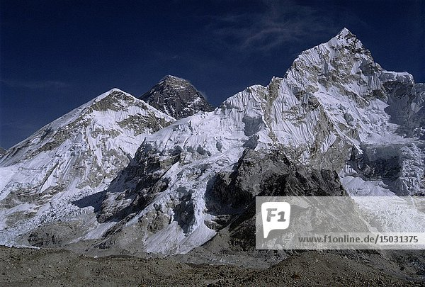 The world's tallest mountain Mount Everest (centre left) and Mount Nuptse (right) from Pumo Ri Base Camp in the Khumbu Himalaya of Nepal.