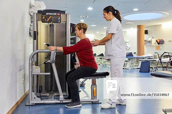 Physiotherapist with patient  Rehabilitation  Amara Berri Health Center building  Donostia  San Sebastian  Gipuzkoa  Basque Country  Spain