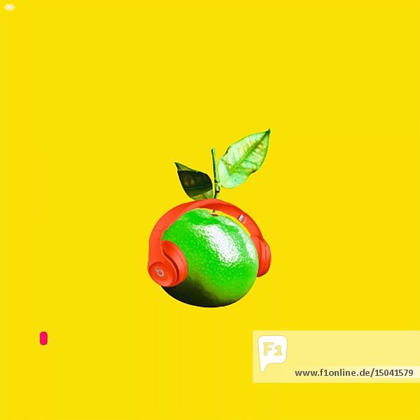 Abstract Lime and Headphones against Yellow Background Animation