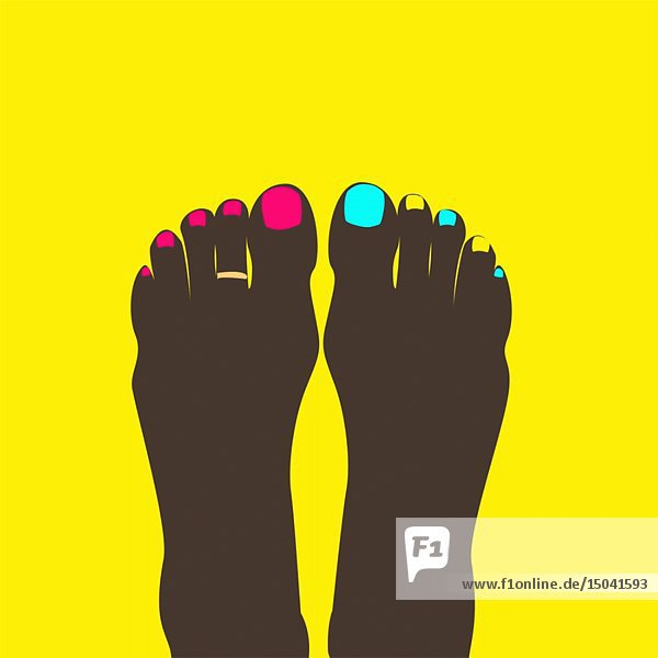 Two Feet with Painted Toe Nails and Toe Ring against Yellow Background Animation